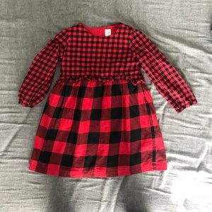 Girls Red and Black Checkered Dress size5 GAP